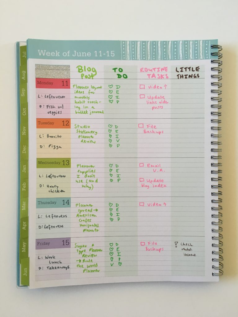 blue sky teacher planner review converting to weekly planner rainbow color coding glitter washi tape