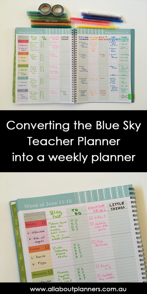 blue sky teacher planner review weekly planning monday start lined family categories colorful rainbow hack