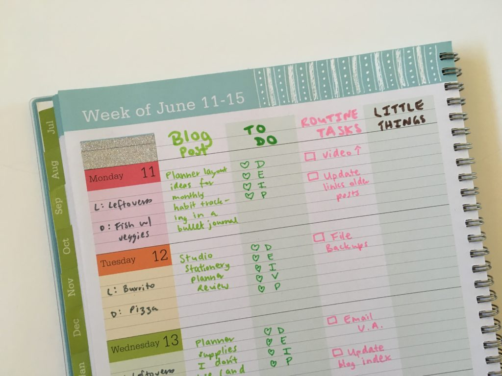 blue sky weekly planner teacher glitter rainbow monday start color coding
