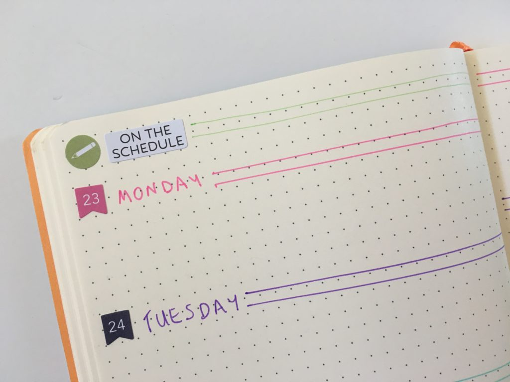 bullet journal spread horizontal simple carpe diem stickers blog planning dot grid notebook page layout weekly spread colorful