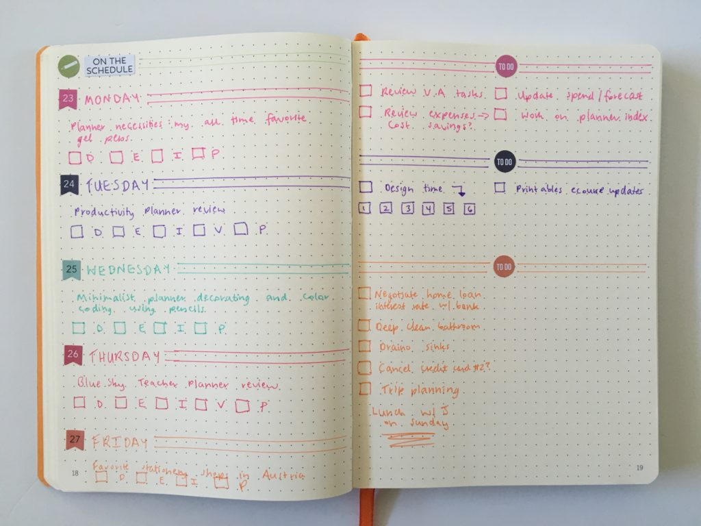 bullet journal spread horizontal simple carpe diem stickers blog planning dot grid notebook page layout weekly spread colorful color coding ideas