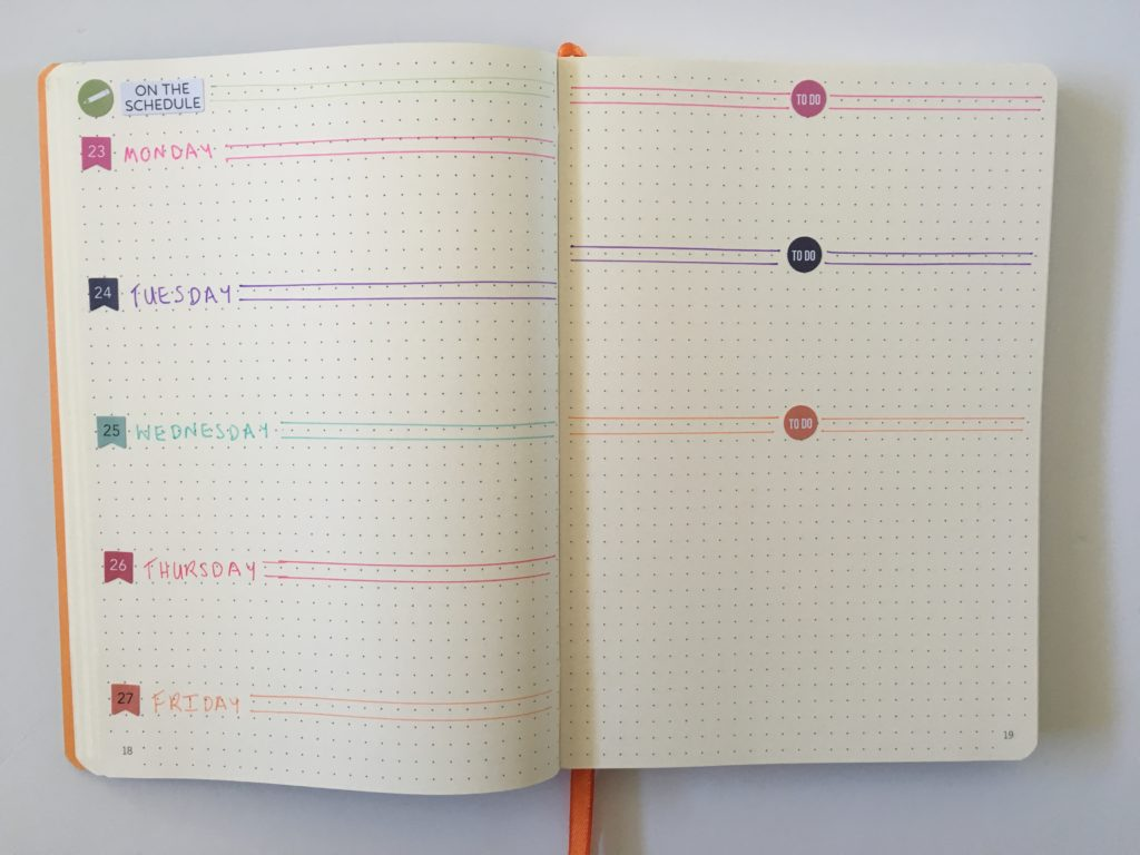 bullet journal weekly spread ideas tips inspiration rhodia goal book carpe diem stickers colorful date dots minimalist different unique inspo bujo horizontal