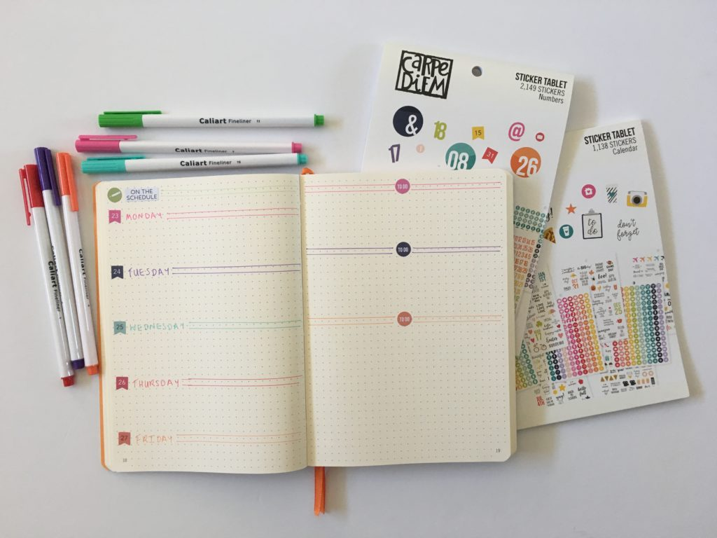 bullet journal weekly spread ideas tips inspiration rhodia goal book carpe diem stickers colorful date dots minimalist different unique inspo bujo horizontal layout