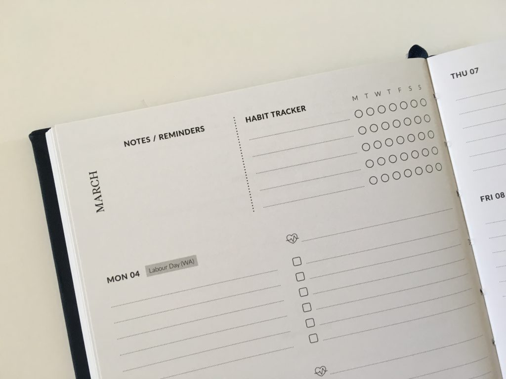 curation weekly planner horizontal on 2 pages monday start habit tracker australian made hardbound sewn binding