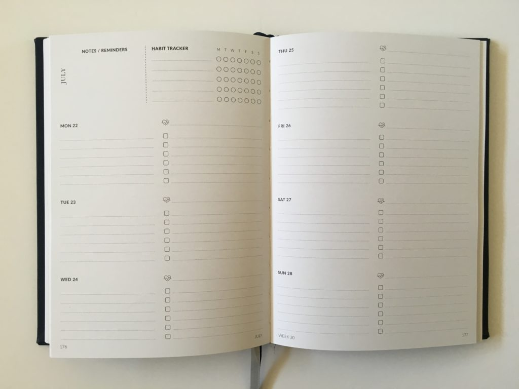 curation weekly planner horizontal on 2 pages monday start habit tracker australian made hardbound sewn binding checklist to do video review pros and cons