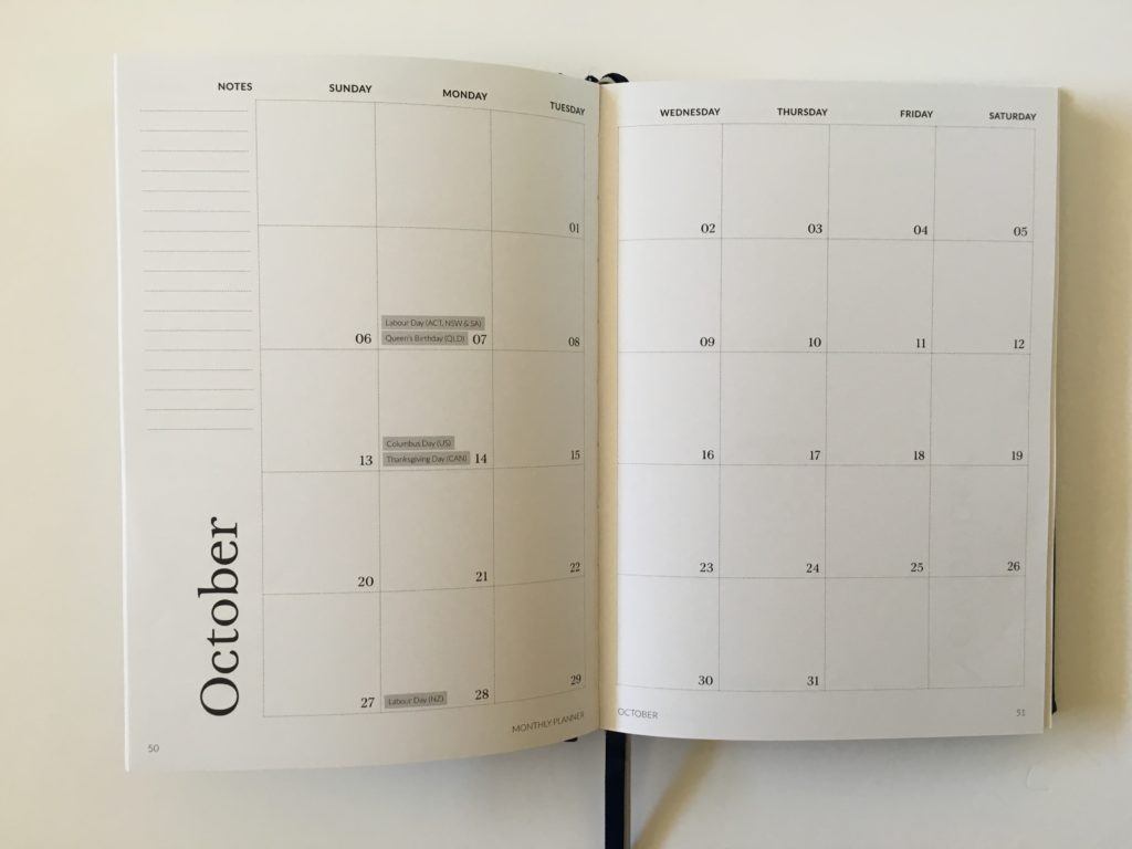 curation weekly planner monthly calendar 2 pages monday start australian public holidays national minimalist horizontal 2 page calendar