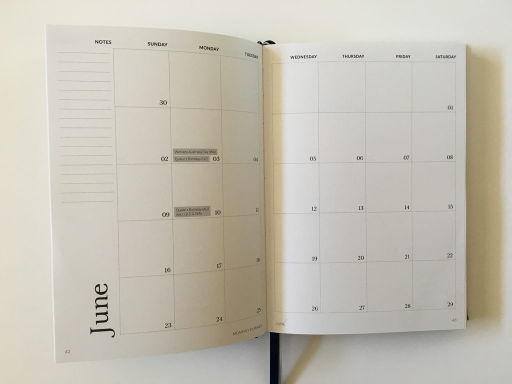 curation weekly planner monthly calendar 2 pages monday start australian public holidays national minimalist horizontal 2 page calendar simple gender neutral