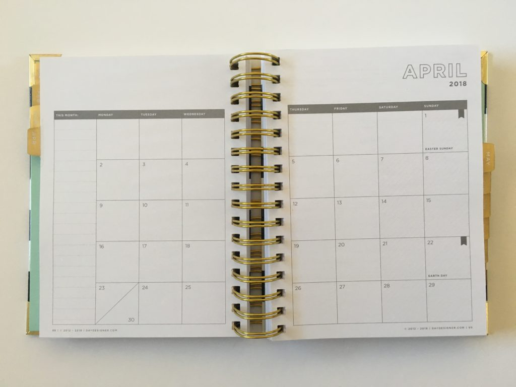 day designer mini monthly calendar pros and cons worth the money expensive cheaper alternative day to a page minimalist planner stripes gold whitney english