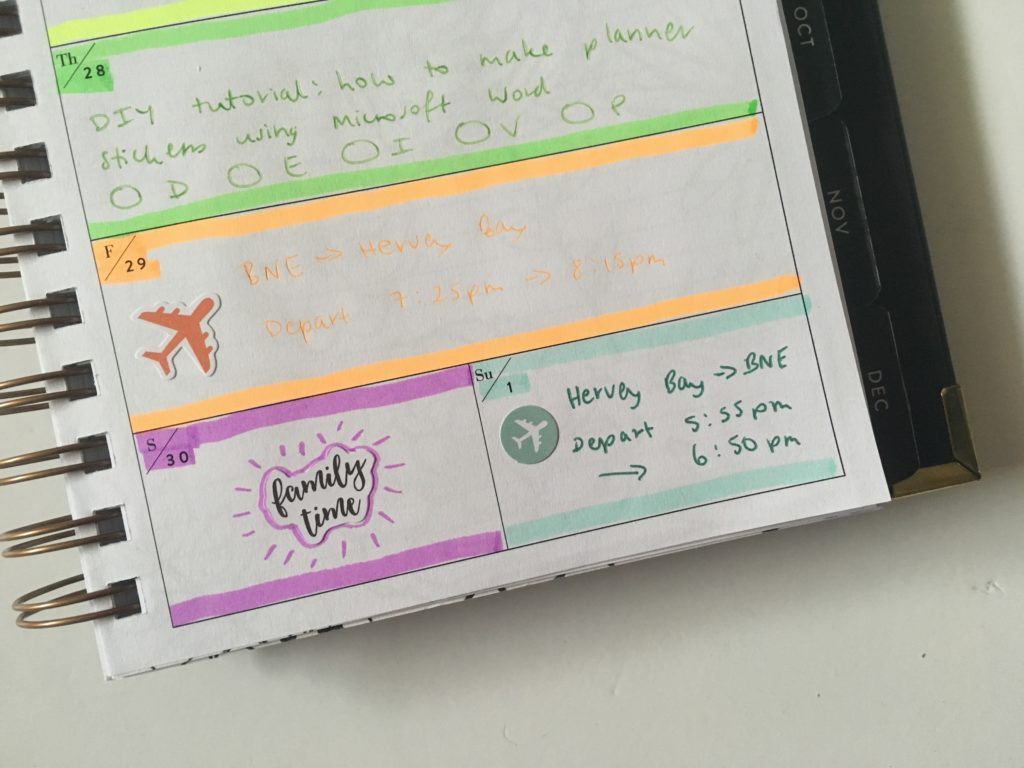 horizontal weekly spread 1 page weekends combined planner decorating carp diem stickers