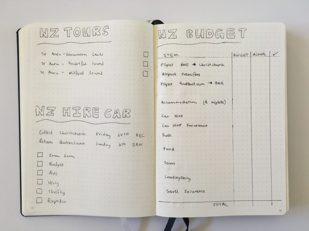 Travel planning in a bullet journal