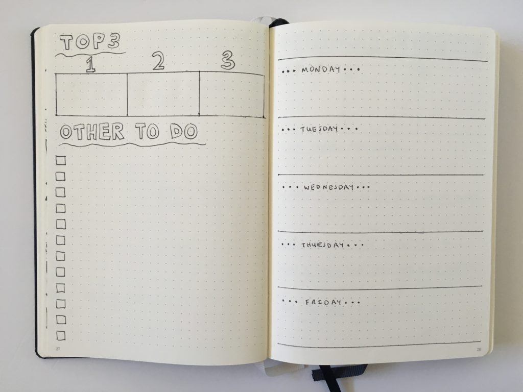 leuchtturm bullet journal weekly spread horizontal quick easy setup top 3 checklist minimalist simple