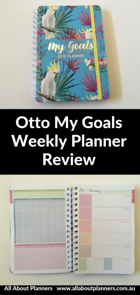 otto my goals weekly planner 2019 review a5 page size horizontal 2 page weekly spread colorful cheaper alternative recollections