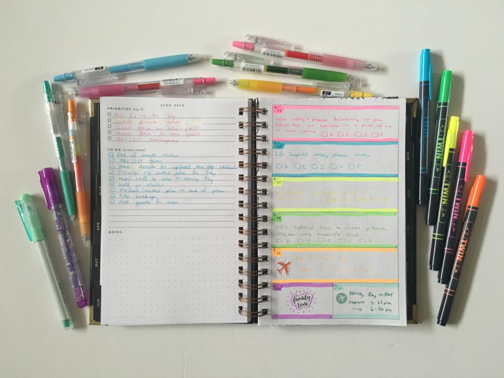 rule the world weekly planner spread rainbow color coding tips ideas minimalist notebook inspiration horizontal spread