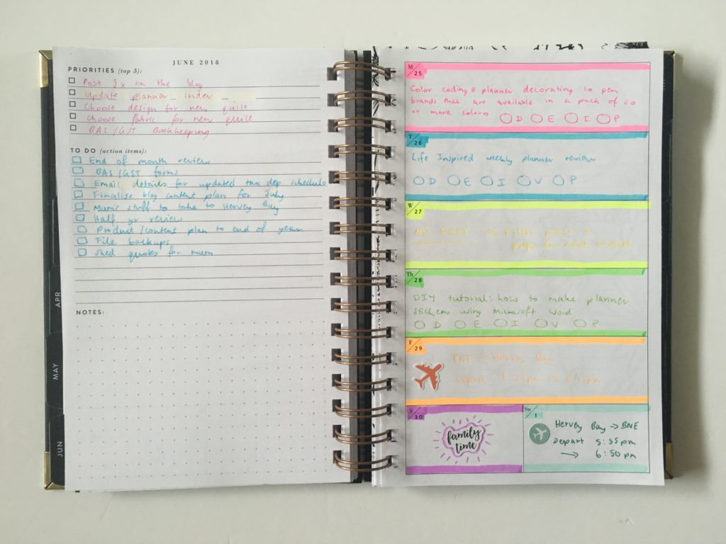 rule the world weekly planner spread rainbow color coding tips ideas minimalist notebook inspiration horizontal spread highlighters simple