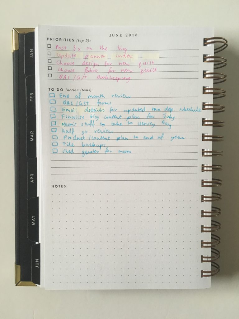 sugar and type rule the world planner review horizontal checklist simple minimalist monday start