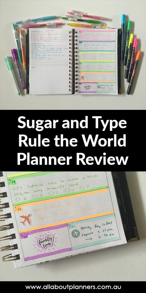 sugar and type weekly planner review highlighters spread horizontal rainbow