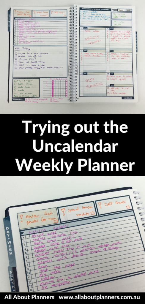 uncalendar weekly planner review undated project planning color coding customisable goal setting schedule workflow checklist top