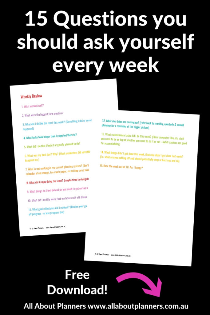 weekly review questions colorful rainbow productivity goal setting organize planner tips inspiration life