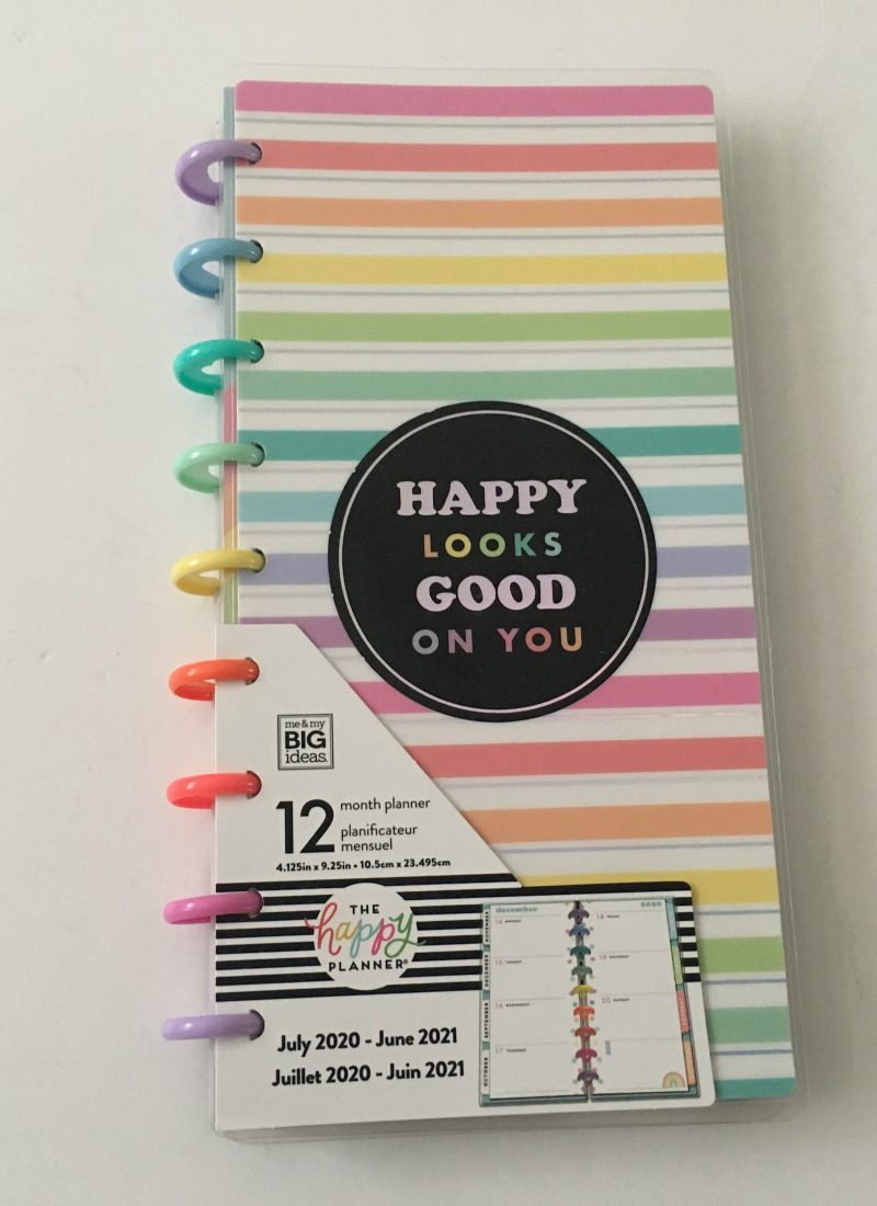 Happy planner skinny classic half sheet weekly planner horizontal rainbow stripe 12 month dated review pros and cons pen testing_01
