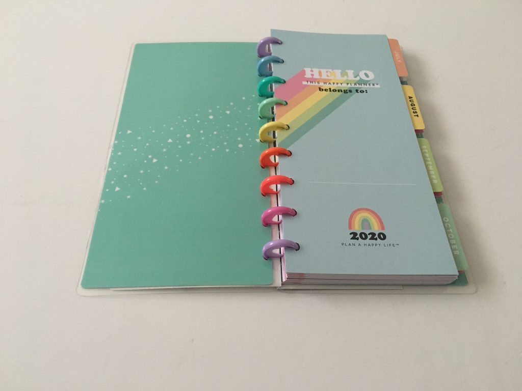 Happy planner skinny classic half sheet weekly planner horizontal rainbow stripe 12 month dated review pros and cons pen testing_03