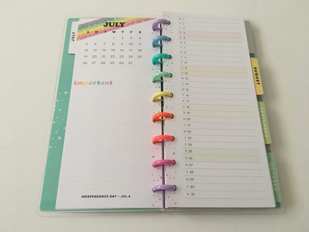 Happy planner skinny classic half sheet weekly planner horizontal rainbow stripe 12 month dated review pros and cons pen testing_06