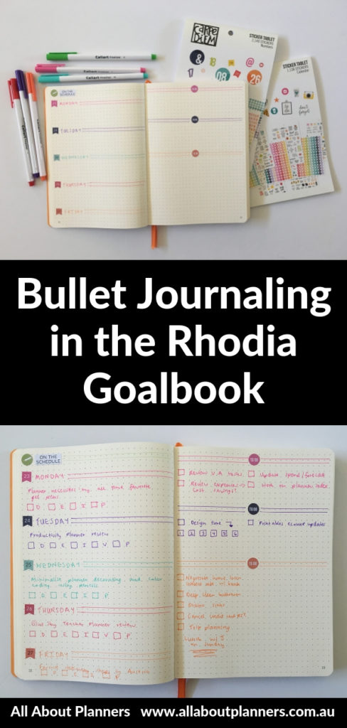 bullet journaling in rhodia goalbook review tips inspiration layout ideas weekly colorful carpe diem planner stickers simple diy