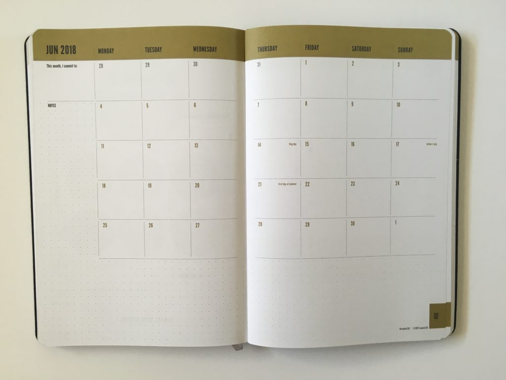 commit 30 planner review monthly calendar 2 page monday start gender neutral