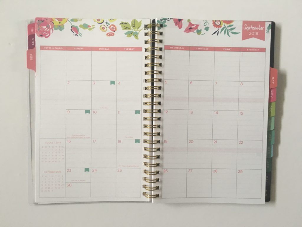 day designer for blue sky mini a5 size planner review monthly calendar sunday start floral