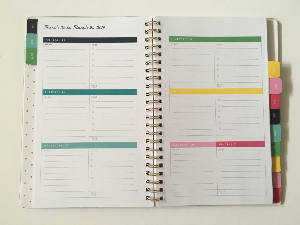 emily ley at a glance collaboration planner review pros and cons rainbow monday week start lined horizontal a5 page size