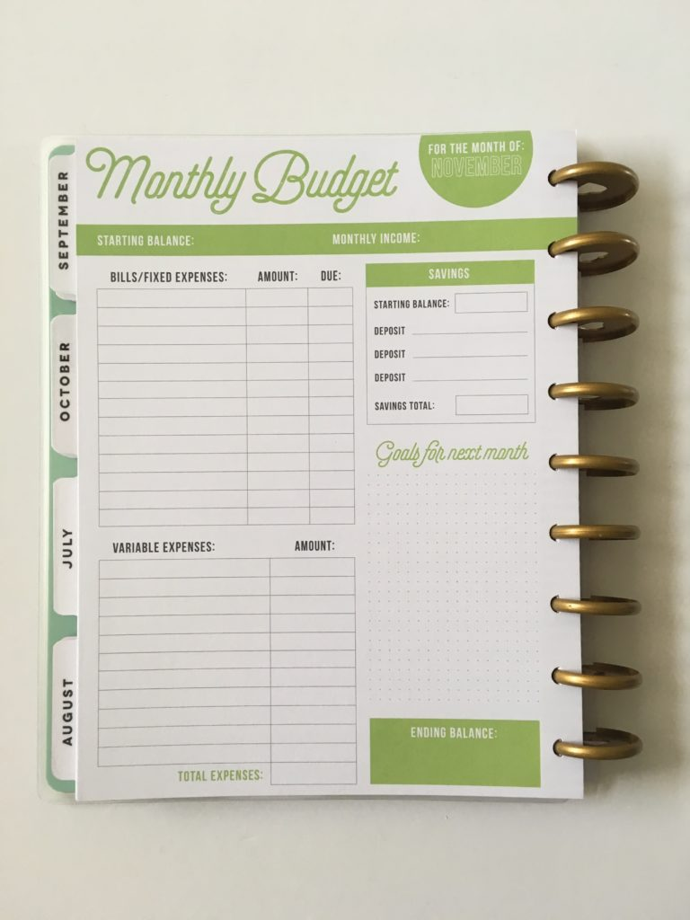 happy planner review monthly budget rainbow spending income savings financial tracker discbound pros and cons