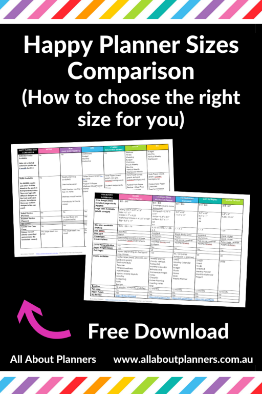 happy planner sizes comparison table printable pdf template which happy planner is right for me how to choose compared features accessories planner peace