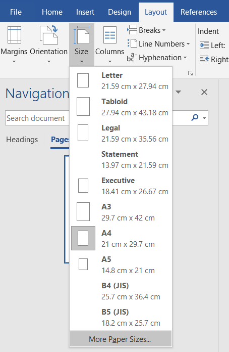 how to change page size in microsoft word