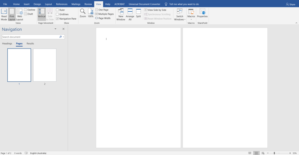 page view microsoft word how to set up design for making printables
