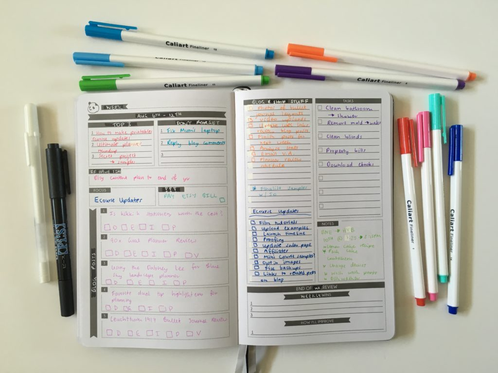 panda planner daily converted into weekly review spread plan with me color coding tips ideas inspiration blog planning