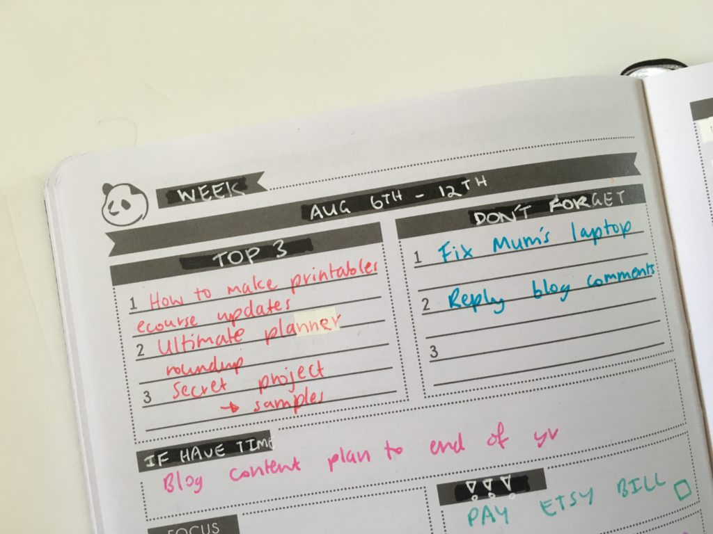 panda planner daily layout customisation tips ideas inspiration weekly spread colorful pros and cons blog planning