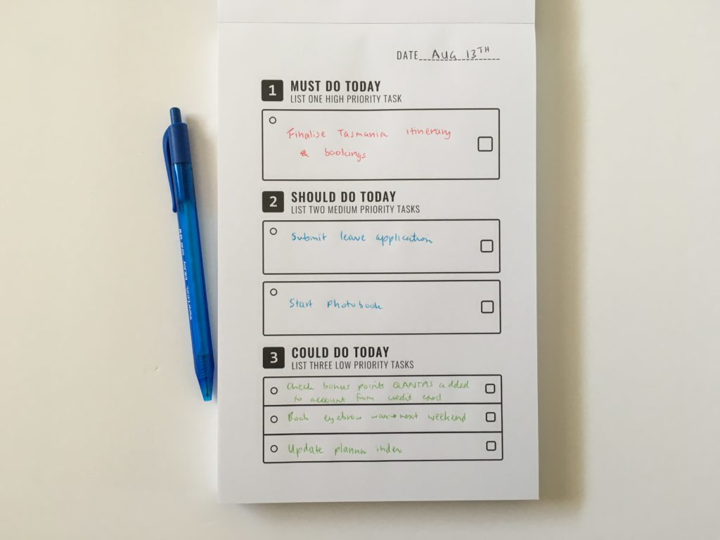 Trying out the To Do List in a Book Planner (Notepad version)