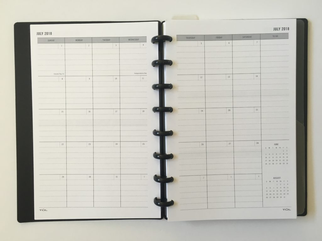 TUL student planner monthly calendar lined 2 page