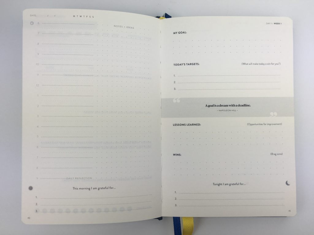best self co journal planner review schedule 6am 2 pages per day undated 1 page weekly overview