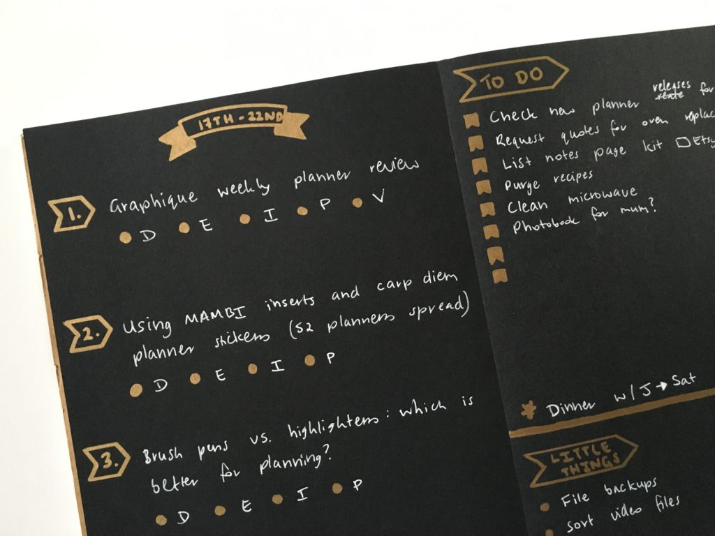 bullet journal weekly spread sakura gelly roll 08 white black paper sharpie permanent marker metallic gold