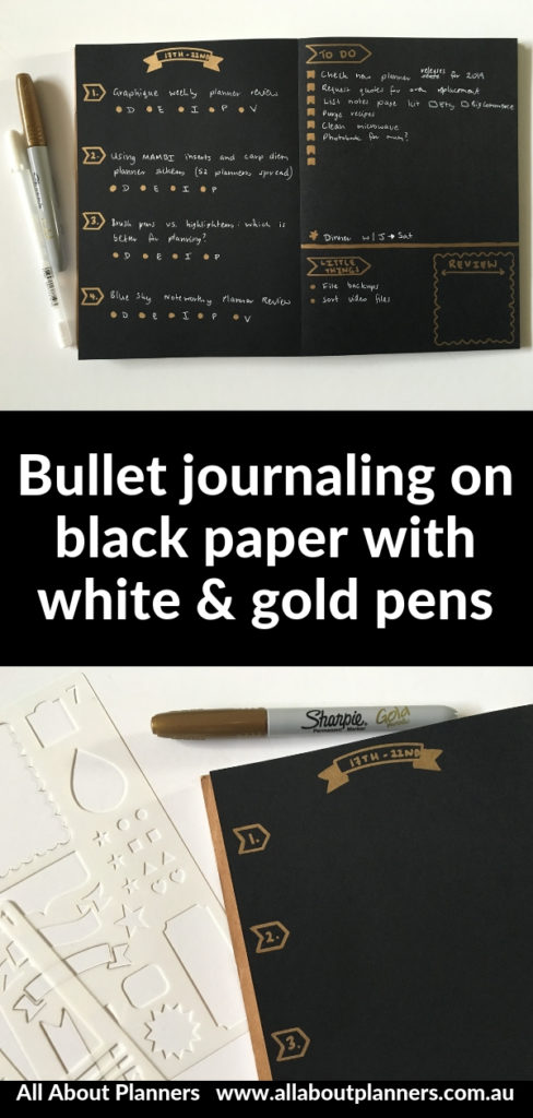 bullet journaling black paper white pen notebook stencil sharpie metallic permanent marker inspiration diy ideas bujo