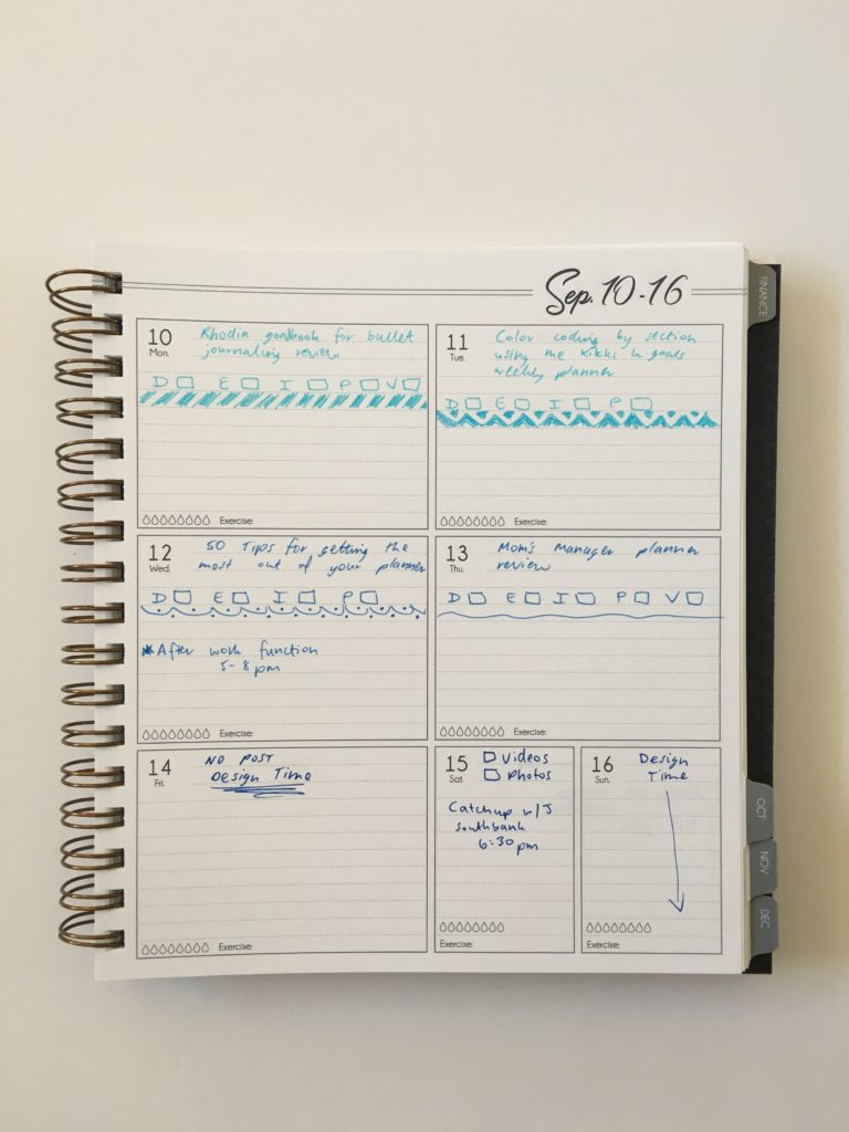 combine work and personal in the same planner ombre blue monday start weekly spread horizontal 1 page