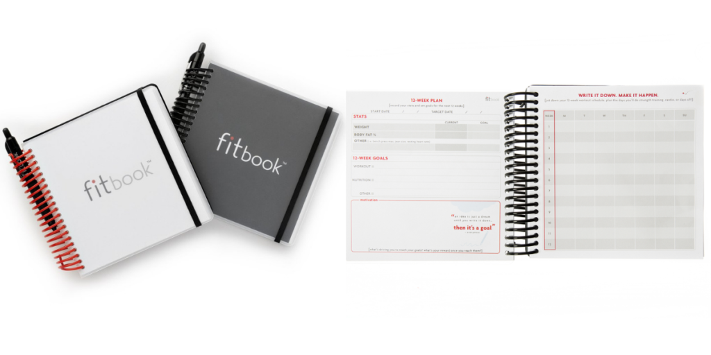 fitbook fitness planner, food and workout tracker, fitness planner