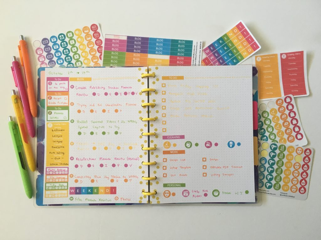 happy notes happy planner review bullet journal spread citrus colorful blog meal plan checklist papermate inkjoy gel icon planner stickers rainbow colorful diy bujo