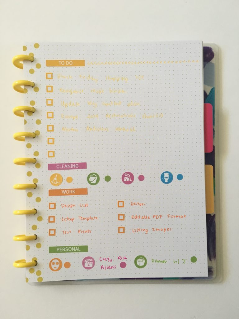 happy notes happy planner review bullet journal spread citrus colorful cleaning meal plan checklist papermate inkjoy gel icon planner stickers rainbow colorful diy bujo
