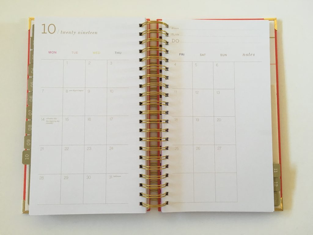 lake + loft montly calendar review monday start horizontal vertical weekly spread colorful