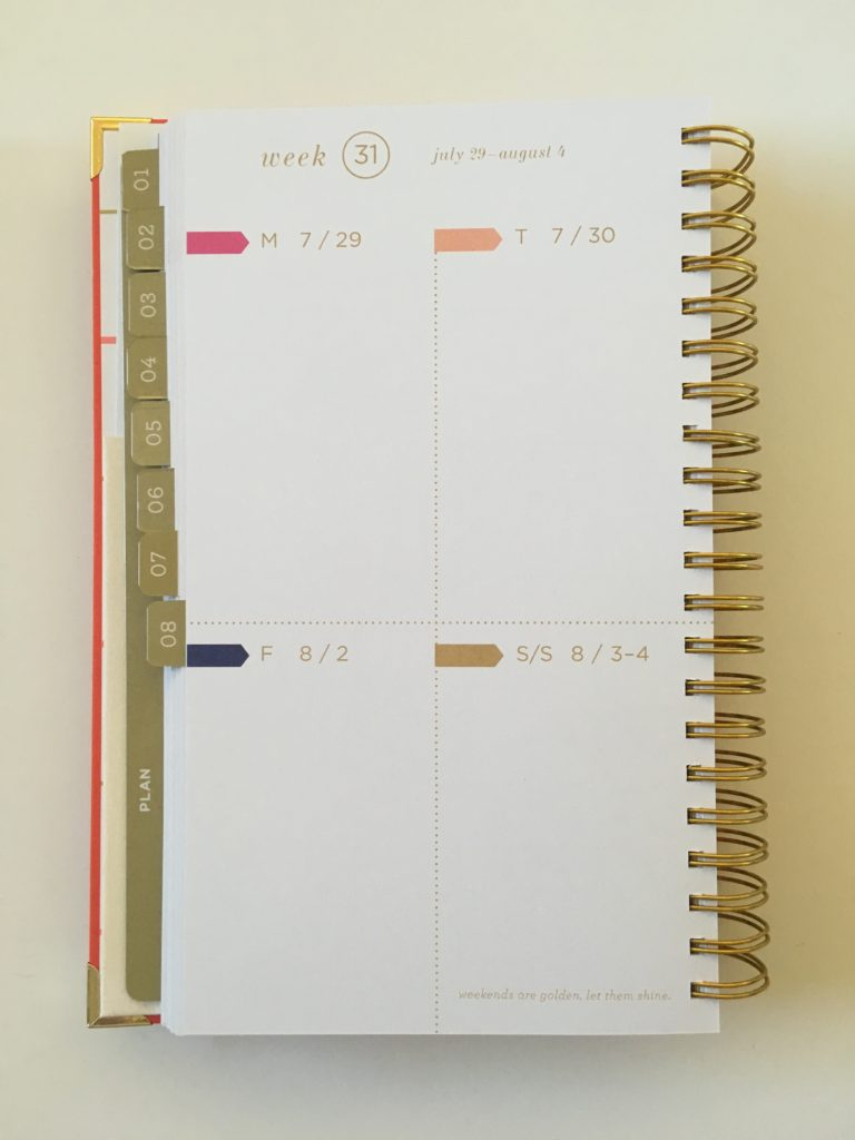 lake + loft weekly planner review grid layout monday start functional vertical horizontal simple colorful