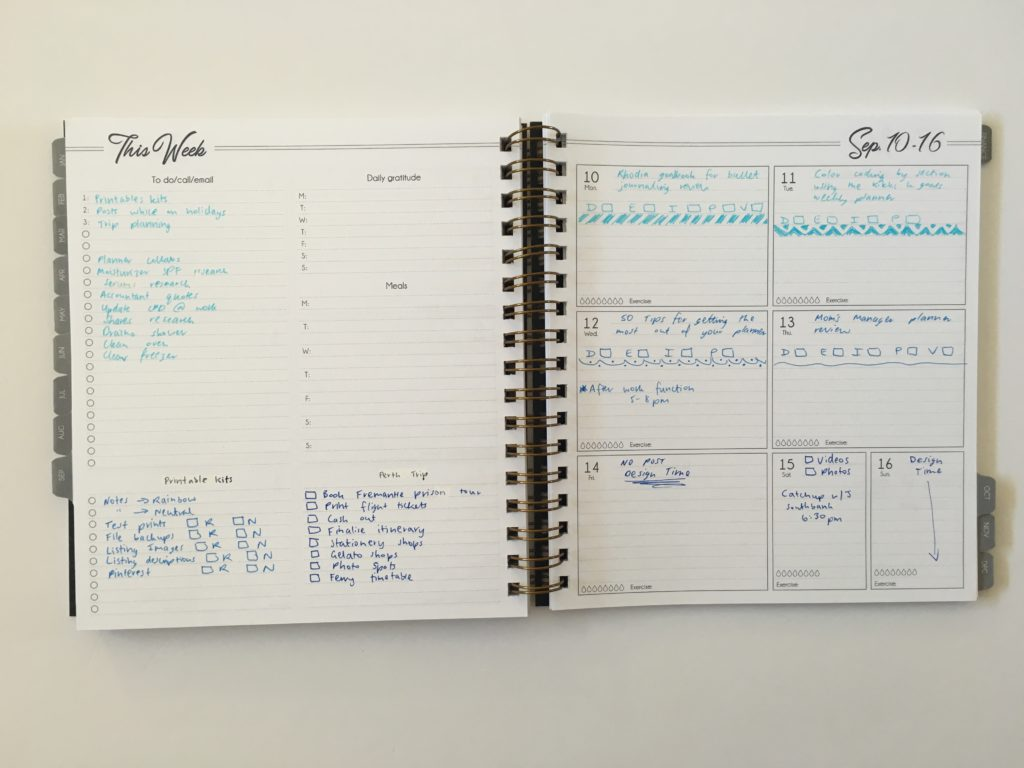 life inspired weekly planner spread ombre color scheme layout ideas simple planner spread horizontal lined days of the week monday start weekends combined