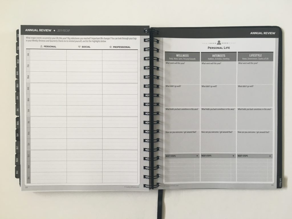 lucky life tools weekly planner annual review pages look inside track lists goals lined goal setting pros and cons video walkthrough