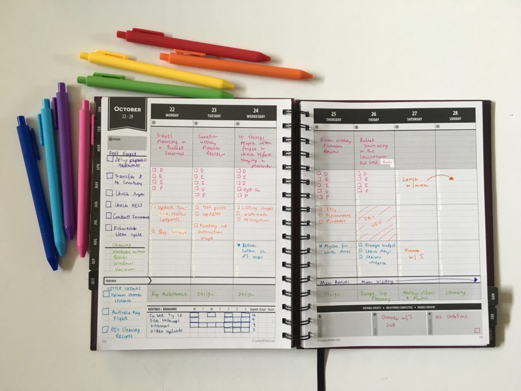 lucky life tools weekly planner review converting hourly planner into blog travel cleaning reminder don't forget rainbow spread kaco pure green pens