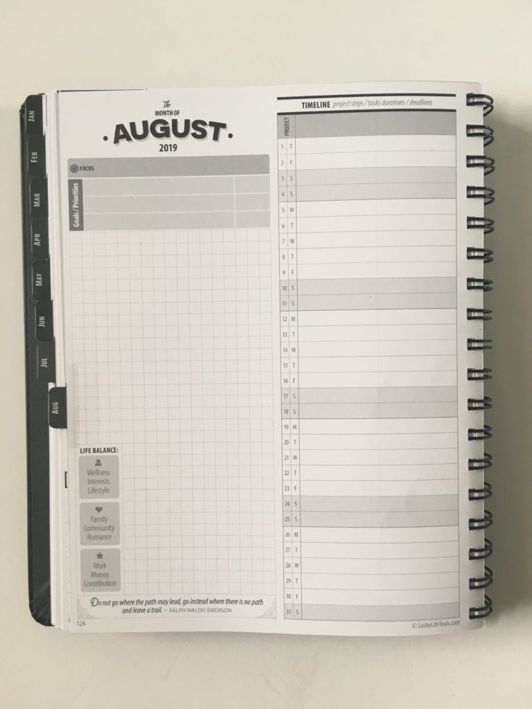lucky life tools weekly planner review monthly overview spread projects timeline graph paper video flipthrough